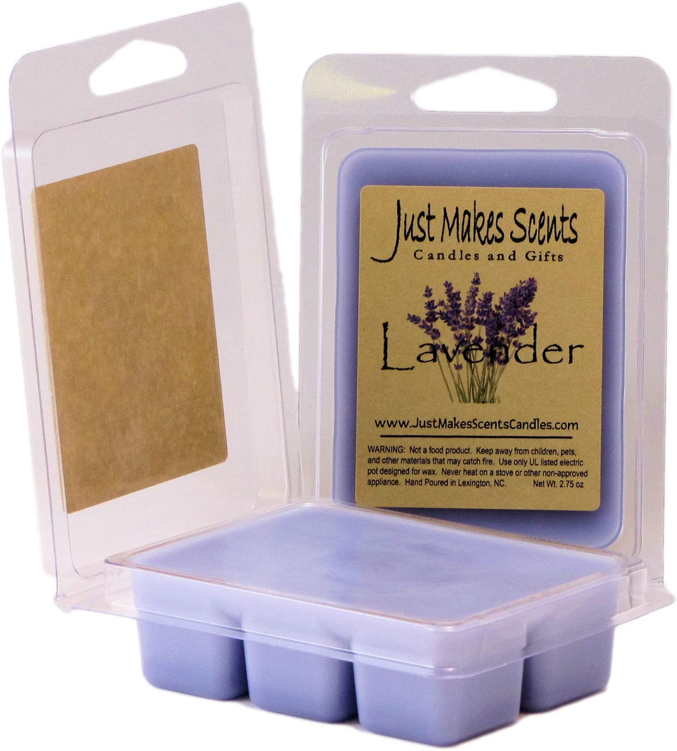 Just Makes Scents 2 Pack - Lavender Scented Wax Melts | Blended Soy Wax Cubes | Long Lasting Wax Bars Made Relaxing Lavender Fragrance