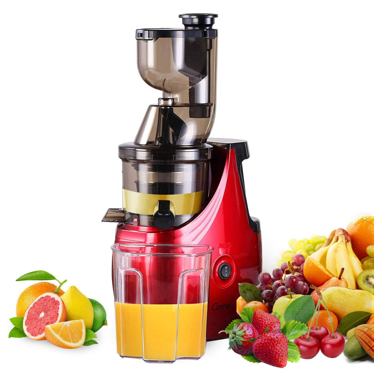 "Slow Masticating Juicer Caynel Cold Press Extractor with 3"" Wide Chute for Fruits, Vegetables and Herbs, Quiet Durable Motor with Reverse Function, Smoothie Strainer Included, High Yield Vertical Juicer Easy Cleaning , BPA Free, Silver (Red)"