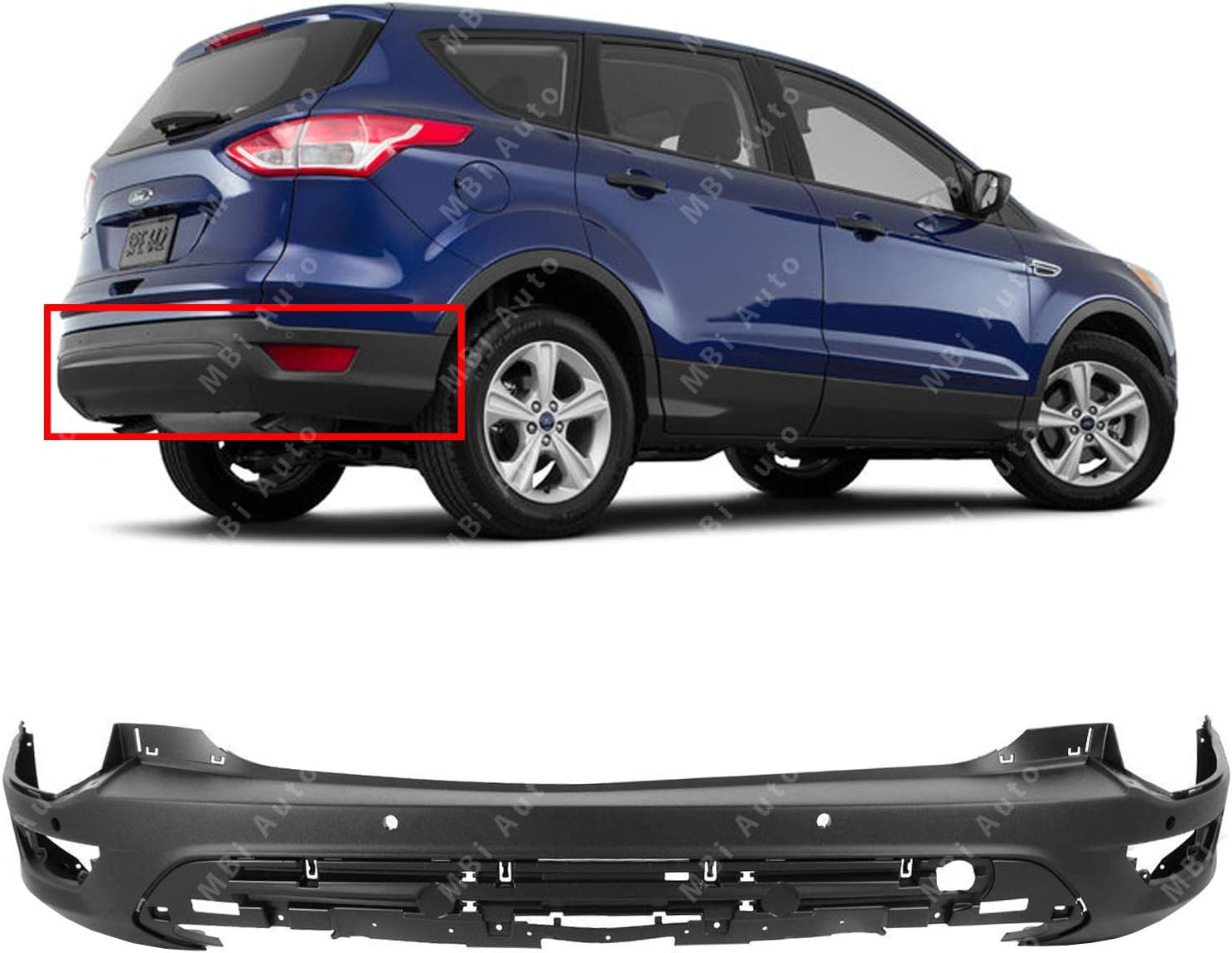 Rear Bumper Cover Replacement for 2013-2016 Ford Escape w//Park Assist 13-16 Textured FO1100689 BUMPERS THAT DELIVER