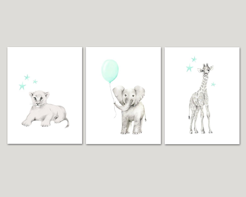 Safari Animal Nursery Prints, Set of 3, Elephant, Giraffe, Lion, Balloons and Stars, Available in Various Sizes, UNFRAMED PRINTS