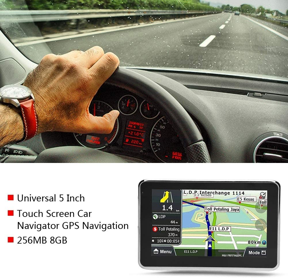 1 PC di Universal 5 pollici Touch Screen Navigatore per auto Navigazione GPS 256MB 8GB MP3 FM Europa Mappa 508. GPS