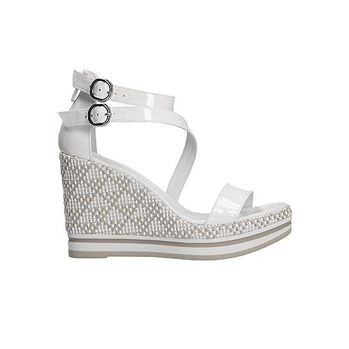 NERO GIARDINI Sandali zeppa bianco 5900 scarpe donna mod. P805900D