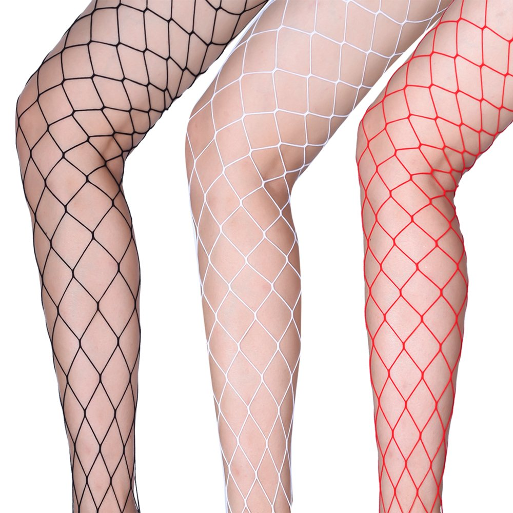 56a14f8a154 Antner 3 Pairs Womens Fishnet Tights Stretchy Stockings Big Cross Seamless  for Fancy Dress