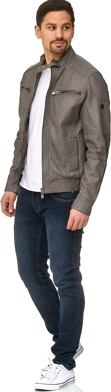 INDICODE Herren Germo Lederjacke aus 100% Lammleder mit Biker Kragen & 6 Taschen | Echtleder Jacke wasserabweisende Herrenjacke Übergangsjacke