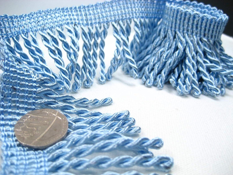 2ms of 6cm Width Wine Fringe Tassel Trim Upholstery Curtain lamp Trimmings Bag Costum Trims (Blue)
