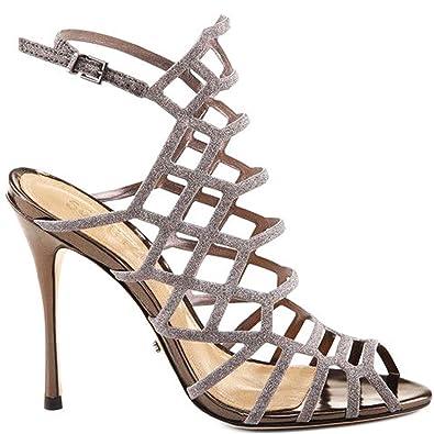 7272ebc46 SCHUTZ Juliana Aco Metallic Pewter Leather Stiletto High Heel Caged Sandals  Pump (5)