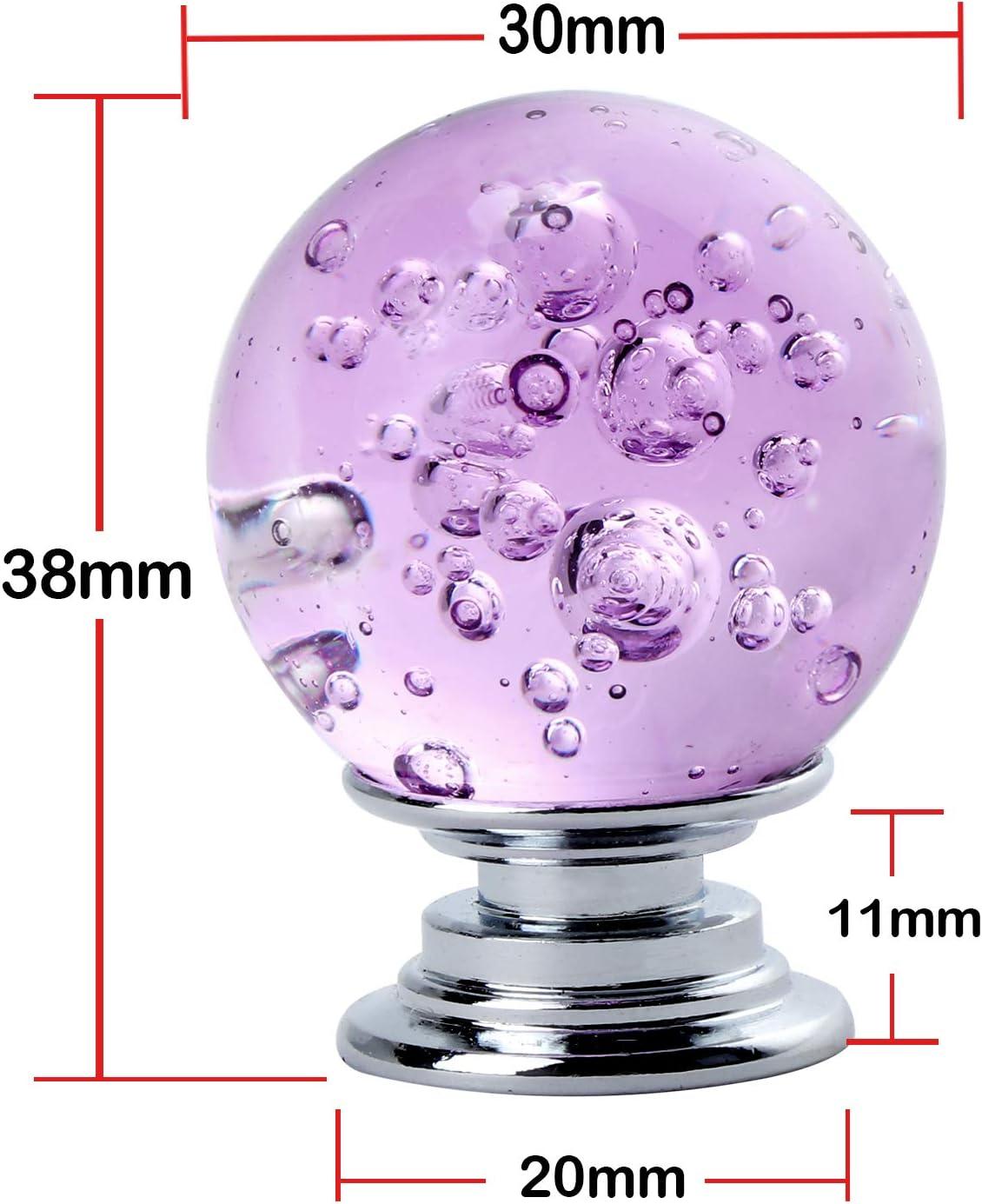 Violett 3,18 cm Durchmesser Glaskristall TsunNee Schubladenkn/öpfe 10 St/ück mit Seifenblasen