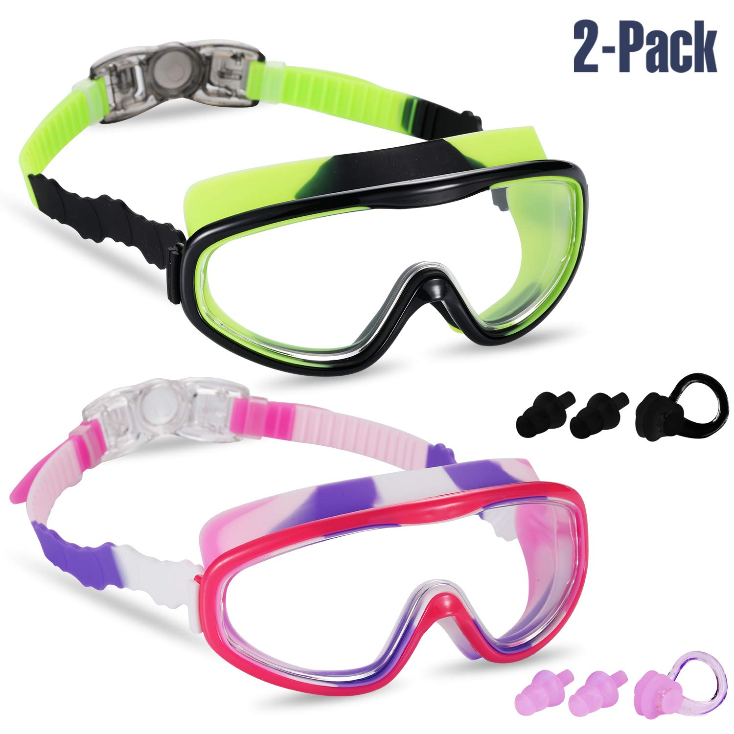 Spinosaurus Kids Swim Goggles Anti-Fog,UV Protection blue green,pink white No Leaking Coated Lens,with case and earplugs HD swim goggles for kids youth and Teenagers fashionable Age 3-15 years