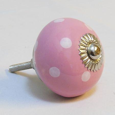Gisela Graham Pink & White Polka Dot Ceramic Drawer Door Knob ...