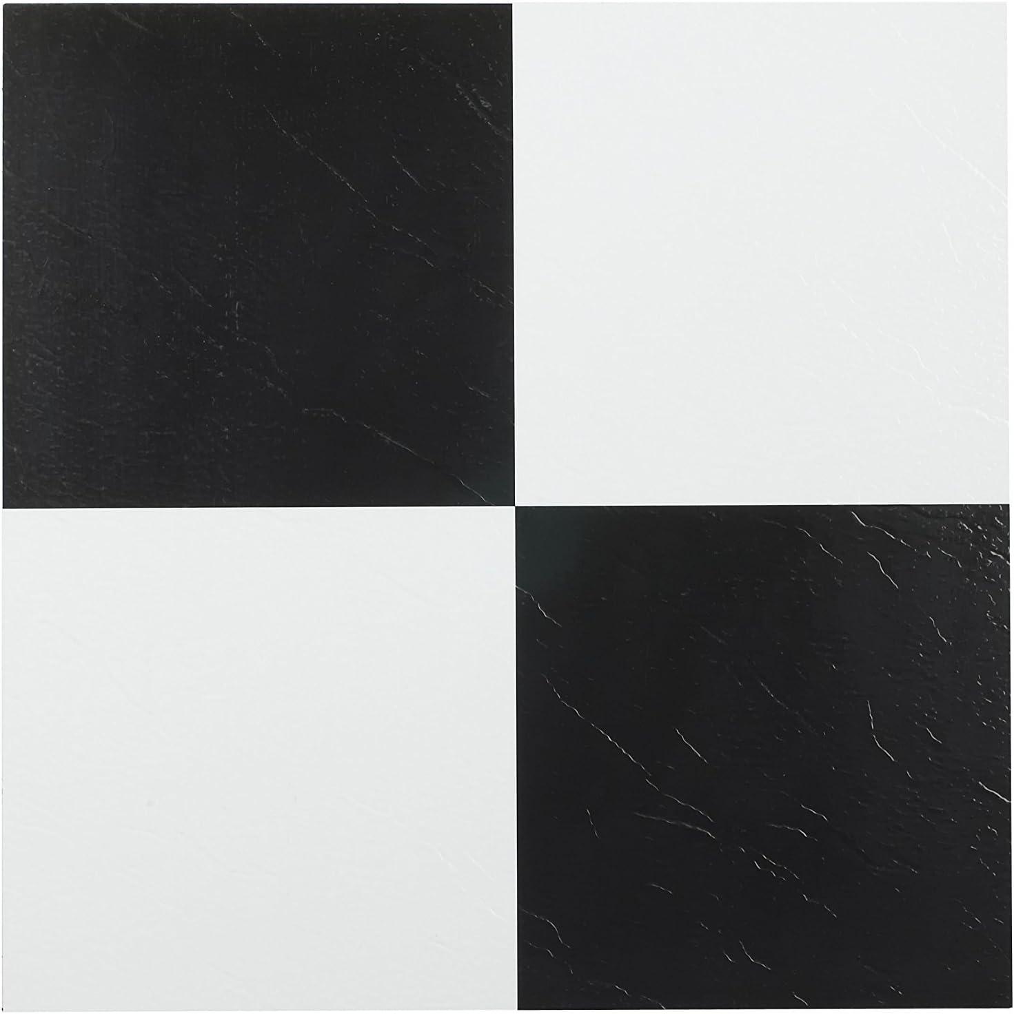 Solid Achim Home Furnishings FTVSO10320 Nexus 12-Inch Vinyl Tile Black//White 4-SET//80 Count