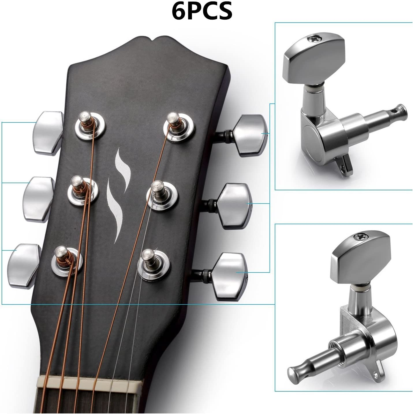 KLJKUJ 6 Pcs Silver Acoustic Guitar Machine Heads Knobs Guitar String Tuning Peg Tuner 3 for Left + 3 for Right