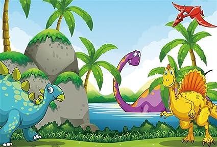 Image of: Cartoon Vector Lfeey 7x5ft Cute Cartoon Dinosaur Photo Backdrop Jurassic Baby Shower Background For Photography Kids Children Boys Amazoncom Amazoncom Lfeey 7x5ft Cute Cartoon Dinosaur Photo Backdrop