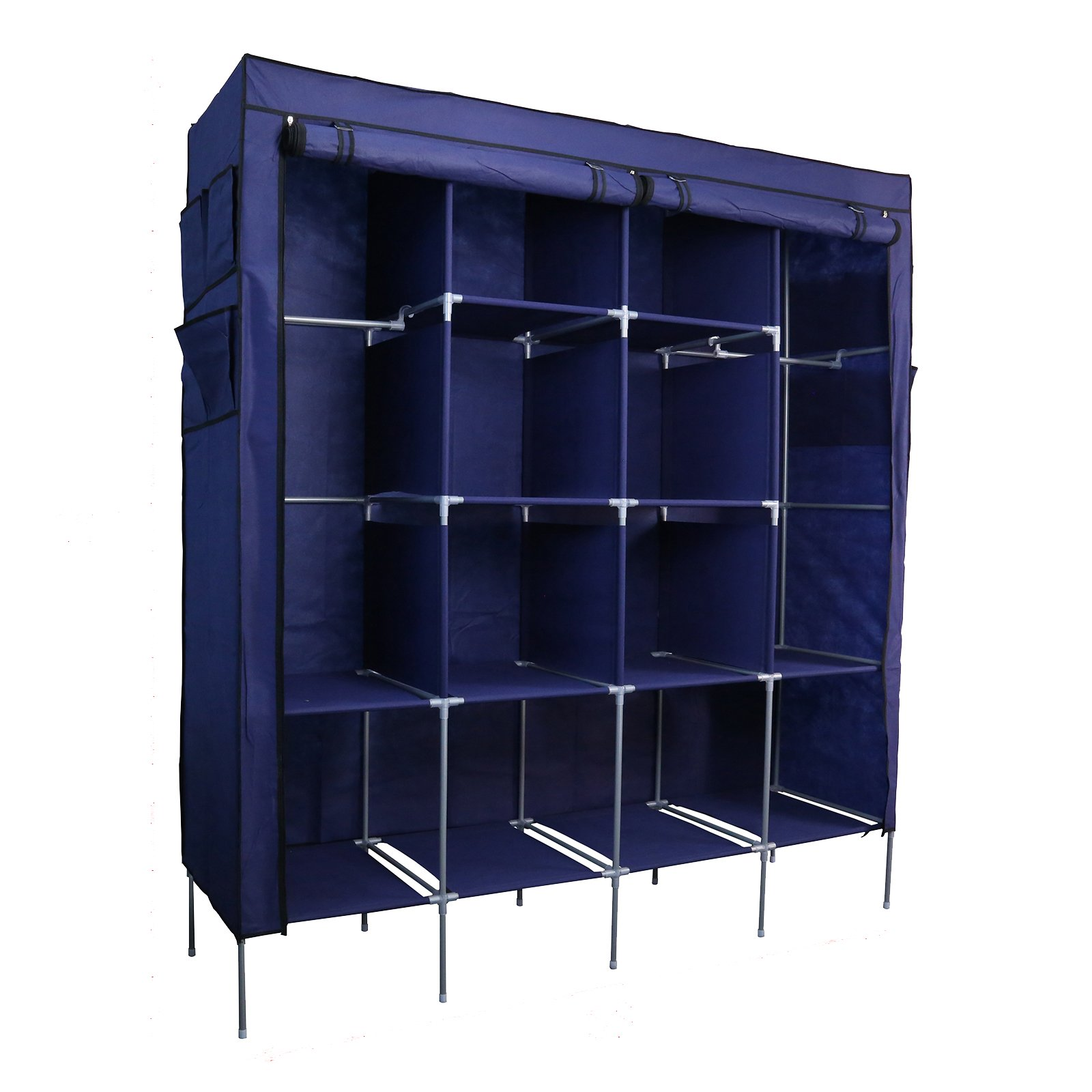Smart-Home 69'' Clothes Closet Portable Wardrobe Clothes Storage Rack 12 Shelves 4 Side Pockets [Navy, 69 1/4'' x 17'' x 65'' (LxHxD)] by Smart home