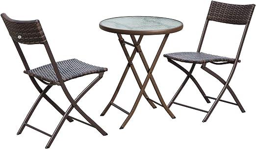 trempé 2 Outsunny Salon Pliable Pliantes chaises Ensemble Verre Plateau tressée de Table Jardin résine Chocolat Ronde Places tQCsdxrh