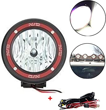KaTur 4 Build-in Xenon 55W H3 HID Driving Work Lamp Spot Beam Light 6000K 4x4 Off-Road Rally Round Fog Light Lamp Fits Truck SUV Jeep ATV