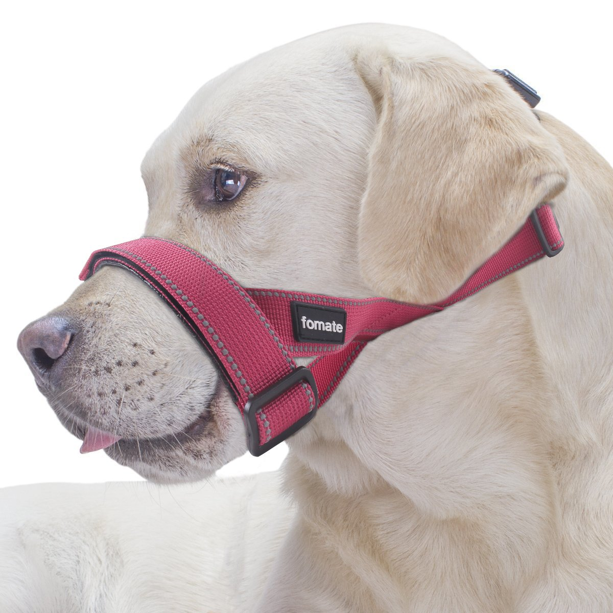 FOMATE Quick-Fit Dog Muzzle Lead Collar with Adjustable Sections, Quick Release Strap, and High Visibility Safety Reflective Stripes (Large, Reflective pink Red)