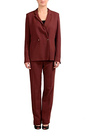Hugo Boss Jaftina Women S Burgundy Wool Double Breasted Pant Suit Us