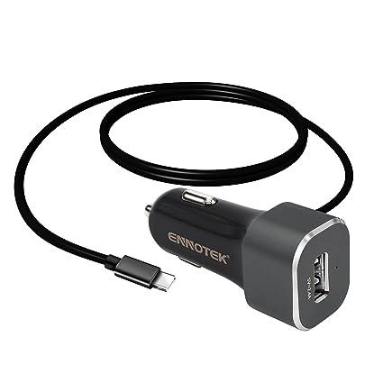 ENNOTEK Cargador de Coche, 2 puertos USB con Cable Tipo C (1 ...