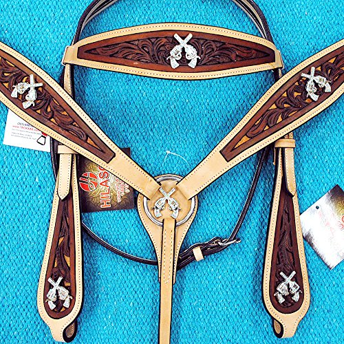 HILASON WESTERN LEATHER HORSE BRIDLE HEADSTALL BREAST COLLAR CROSS GUN CONCHOS ()