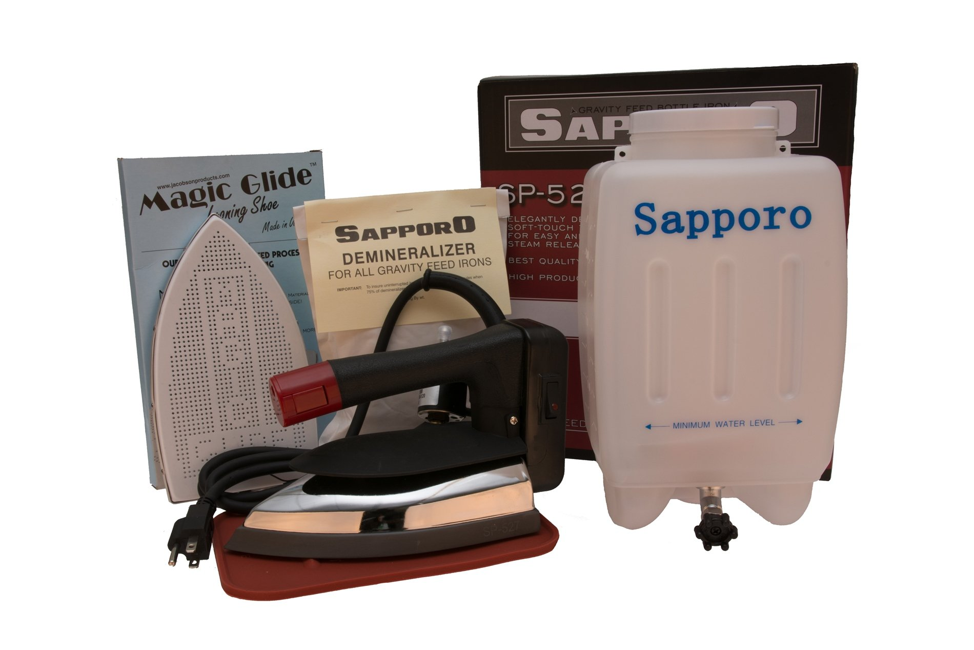 Sapporo SP527/SP-527 Gravity Feed Bottle Steam Ironing System with Demineralizer and Magic Glide Shoe by Sapporo/Jacobson
