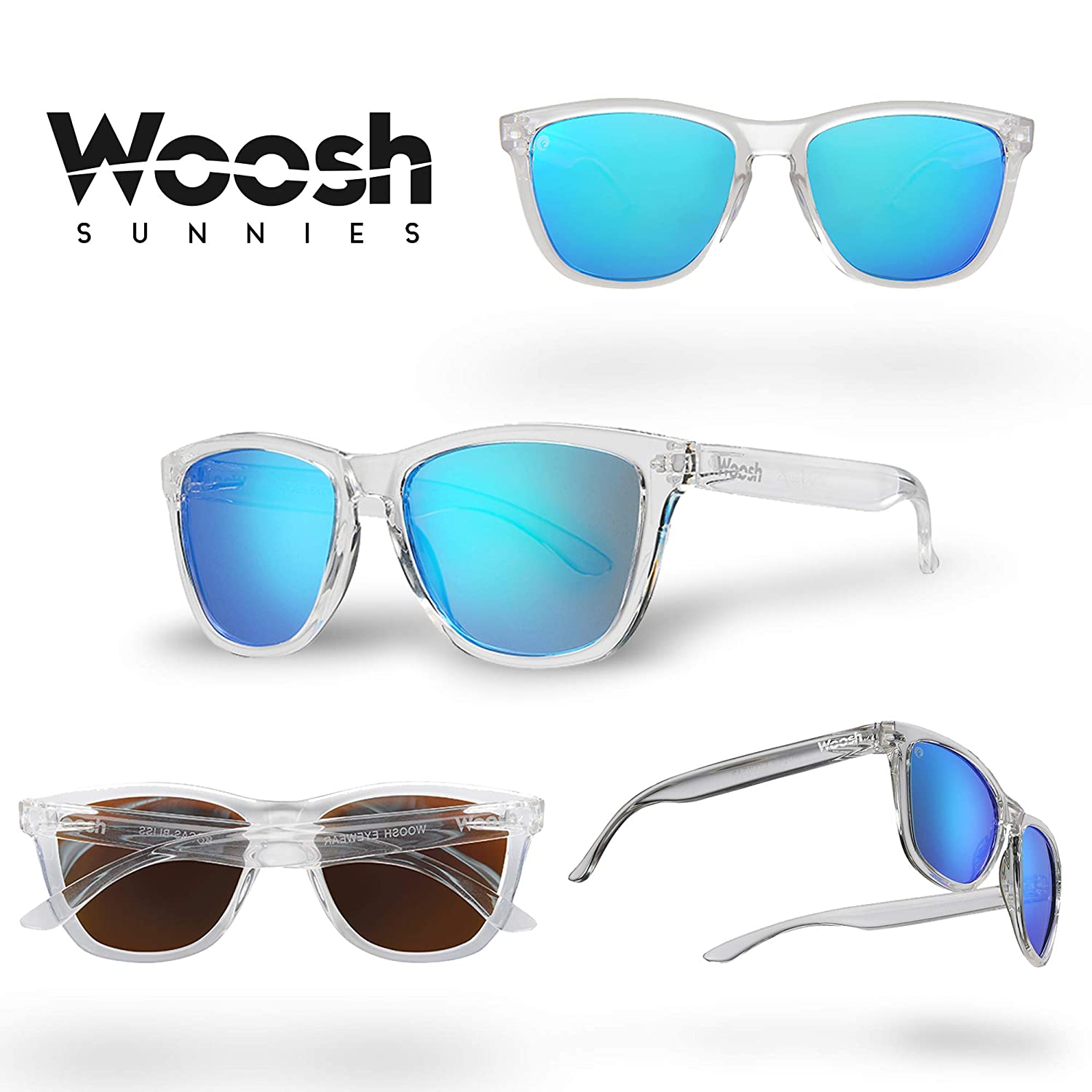 5189f2dc92bd Amazon.com  WOOSH Polarized Lightweight Sunglasses for Men and Women - Blue  Lens   Clear Frame - Unisex Sunnies for Fishing