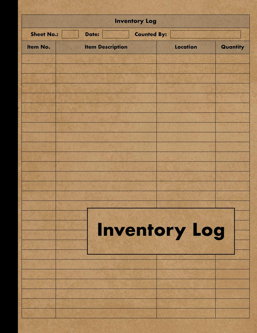 Inventory Log Inventory Log Book 120 Pages For
