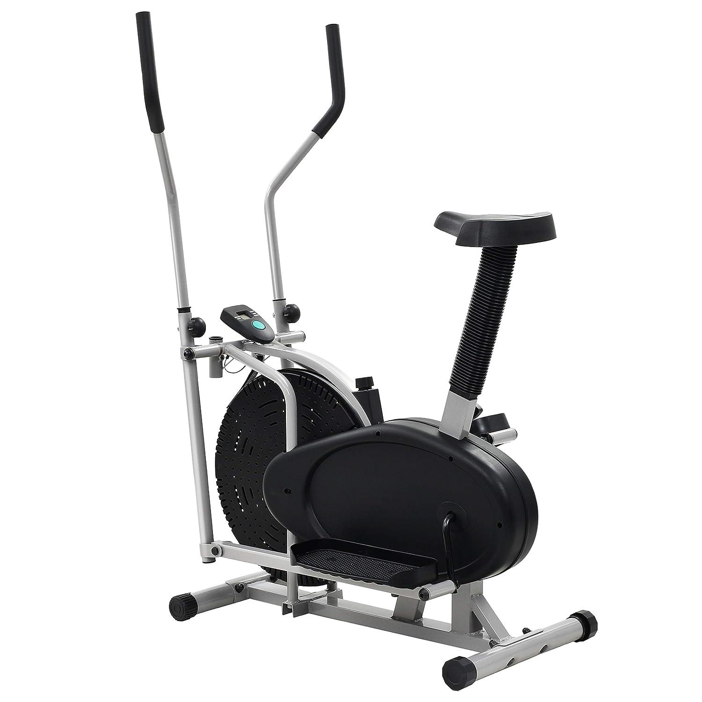 vidaXL Bicicleta Elíptica Estática 2 en 1 LCD Resistencia Sillín ...