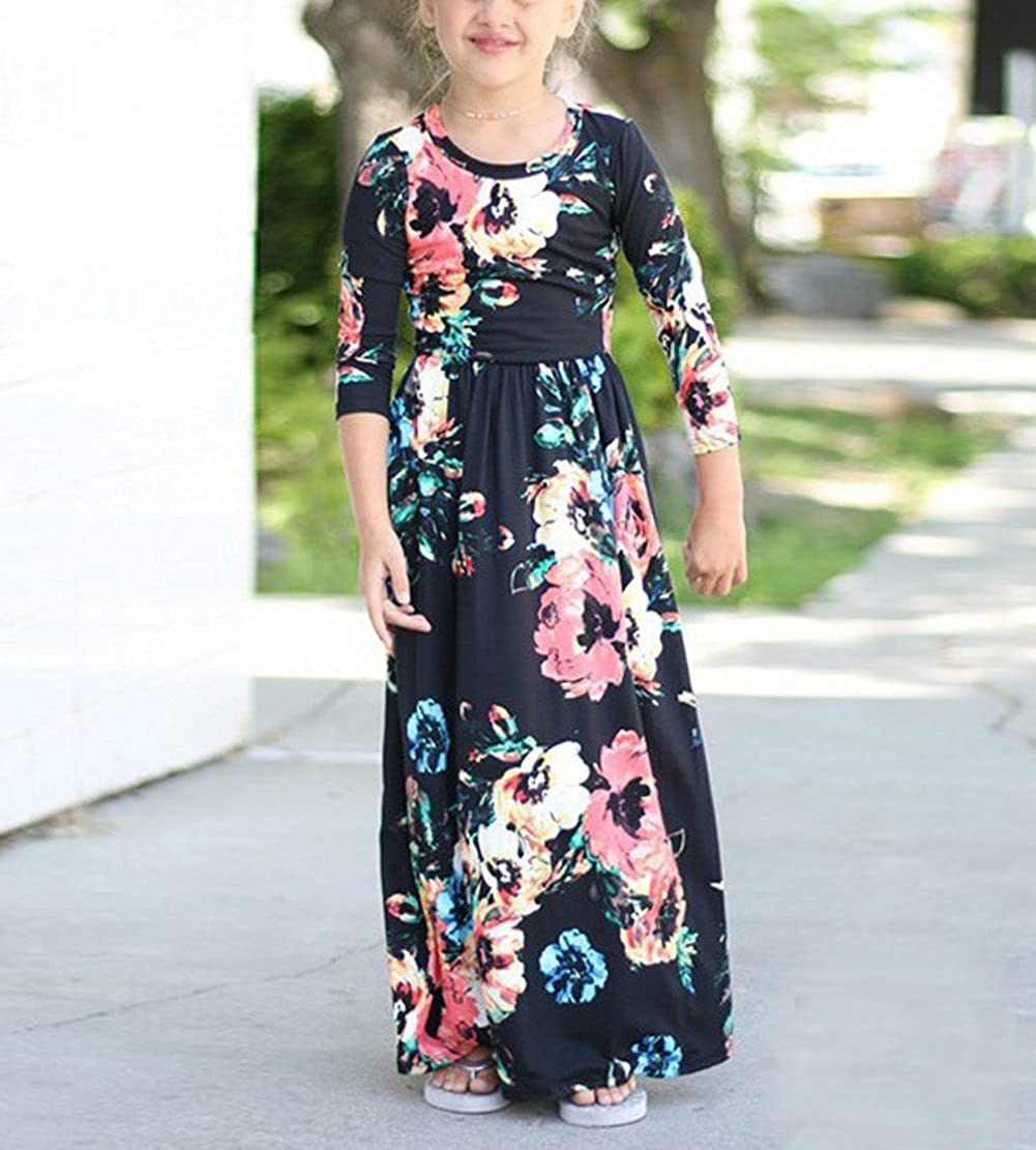 Qin.Orianna Mommy and Me Maxi Dresses,3 4 Sleeve Bohemia Rose Floral Matching Outfits with Pocket/…