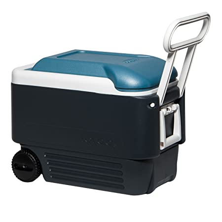 Igloo MaxCold Roller Cooler, Jet Carbon Ice Blue White, 40 Quart