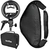 Godox Kit de Modificateur de Lumière Boîte de lumière softbox 60x60cm/80x80cm + Nouveau Forme de S Sabot de Support de flash (Monture Bowens) pour Flash Godox V850 V860c AD360 Canon 430EX/430EX II 580EX Nikon SB 800 YONGNUO 568 EX II etc.