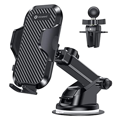 VICSEED Universal Car Phone Mount Car Phone Holder for Car Dashboard Windshield Air Vent Long Arm Strong Suction Cell Phone Car Mount Fit with iPhone SE 11 Pro X XS Max XR Galaxy S20 Note10 All Phones