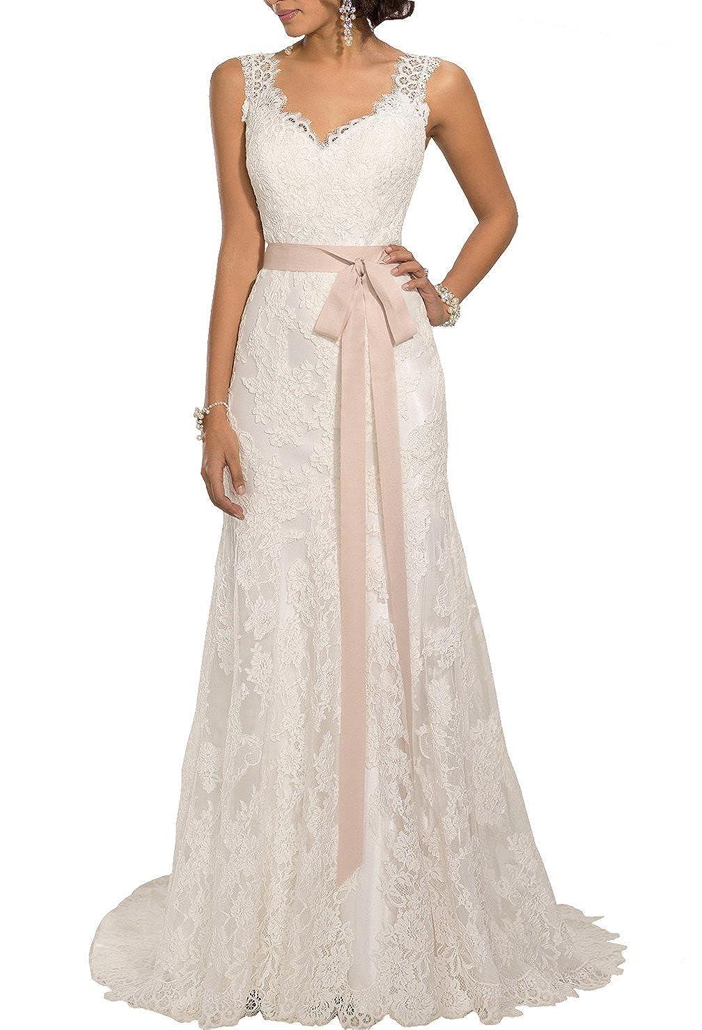Changjie Women's V-Neck Backless Lace Bridal Wedding Dresses CJ382