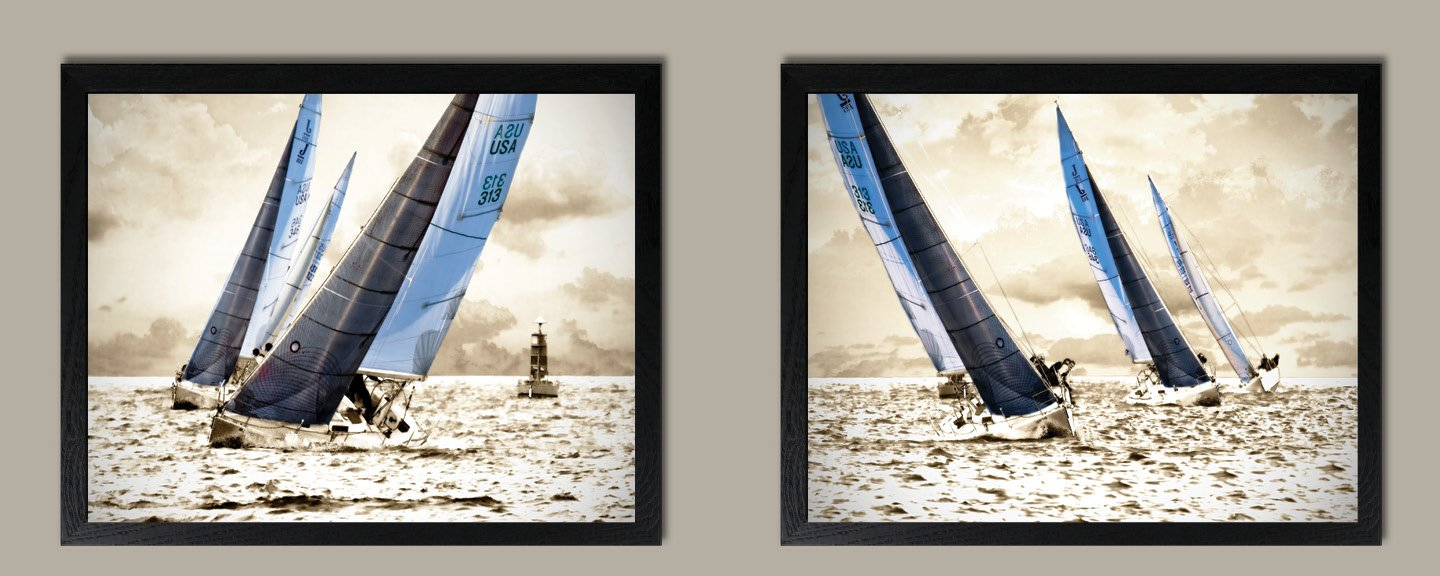 Racing Waters; Modern & Inspiring Beautiful Grey & Blue Sailing Prints; Nautical Decor, Set of Two 14x11in Black Framed Prints; Ready to hang!