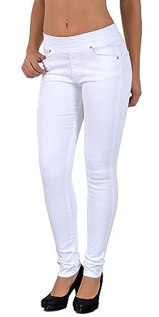 ESRA Damen Jeans Hose Skinny Jeanshose in weiß und schwarz Röhrenjeans und  Bootcut für Praxis J07 b68b175011