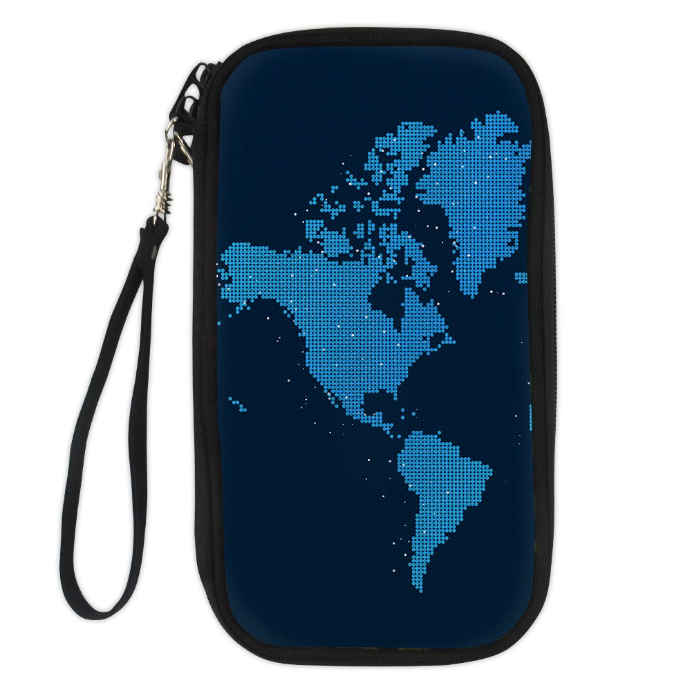 Dellukee Passport Holder Fashion Family Strap Travel Zipper Passport Wallet Purse