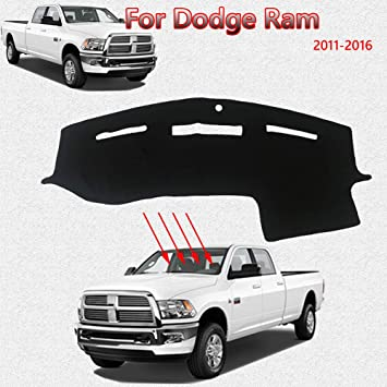 Red Trim 1 PCS Auovo Dashboard Mat Liner for Dodge Ram Pickup 1500 2500 3500 2011-2018 Interior Accessories Car Dash Trim Rubber Pad Cover Soft Tray