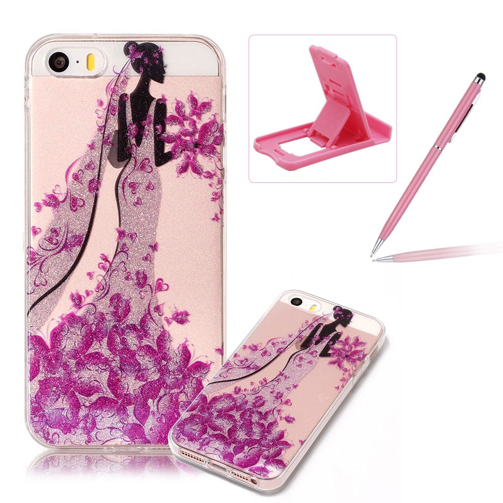 Glitter Clear Case for iPhone SE, Crystal TPU Cover for iPhone 5S, Herzzer Ultra Slim Creative [Azalea Pattern] Bling Sparkly IMD Design Shock-Absorbing Soft Silicone Gel Bumper Cover Flexible TPU Transparent Skin Protective Case for iPhone SE/iPhone 5/5S