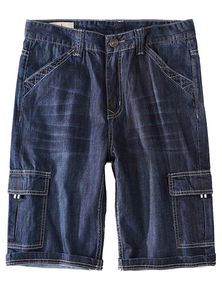 Idopy Men`s Summer Multi-Pockets Thin Regular Fit Denim Cargo Shorts (W36, Dark Blue)