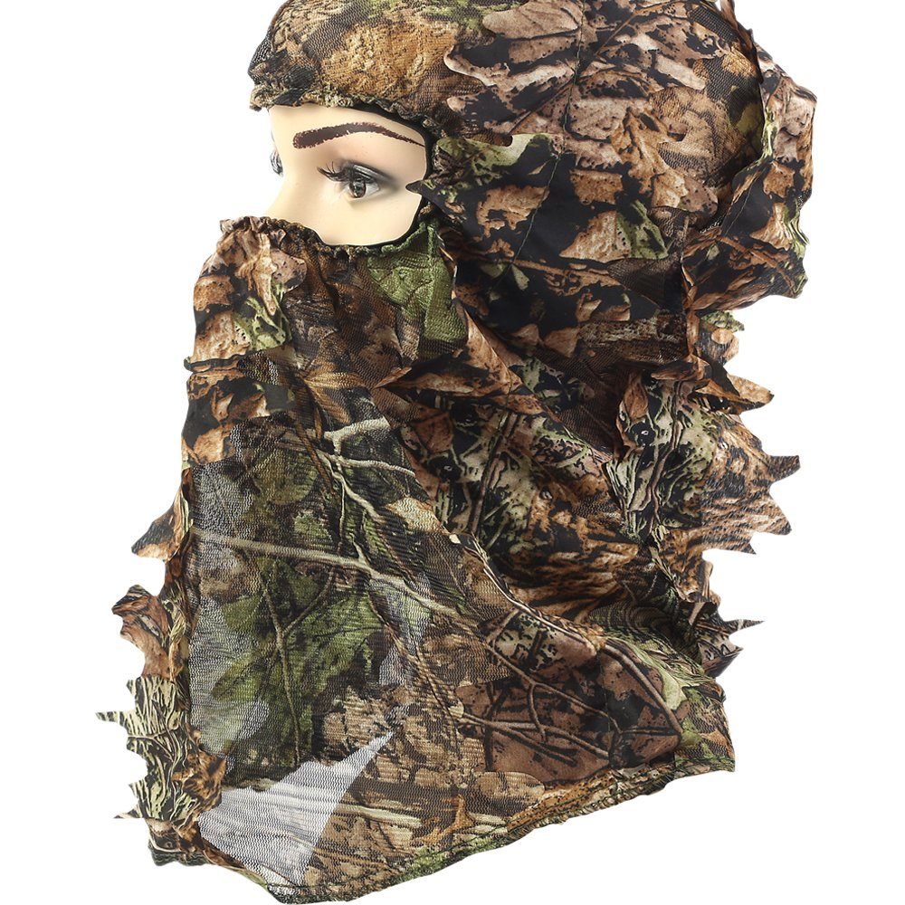 80d21b9e939 Amazon.com   YB Camoflage Hunting Leafy 3D Face Mask Hood   Sports    Outdoors