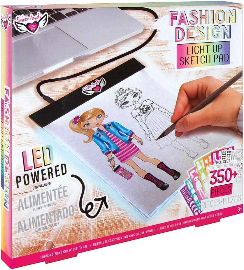Amazon Com Fashion Angels Fashion Design Light Pad Sketch Set 12521 Light Up Tracing Pad Includes Usb Ultra Thin Tablet Multi Toys Games