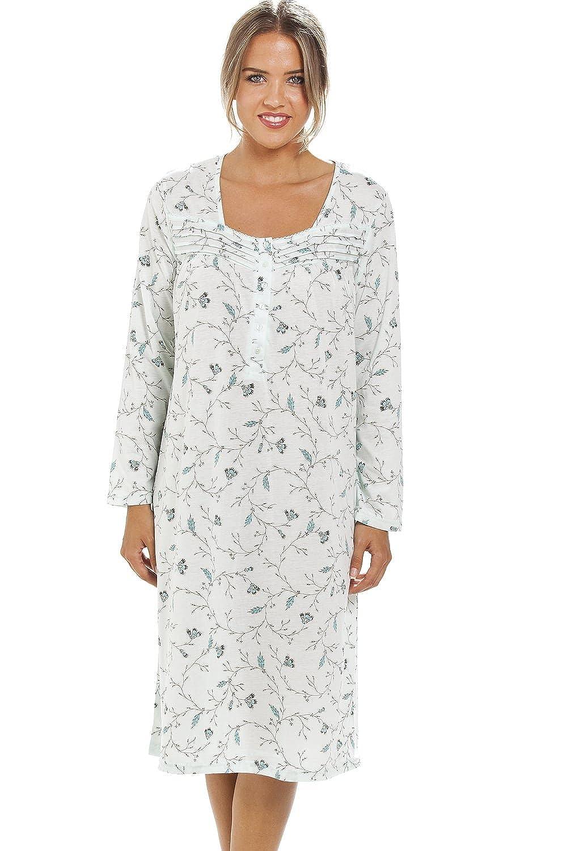 1655fa1d46 Camille - Camicia da Notte Donna Maniche Lunghe - Motivo Floreale Classico