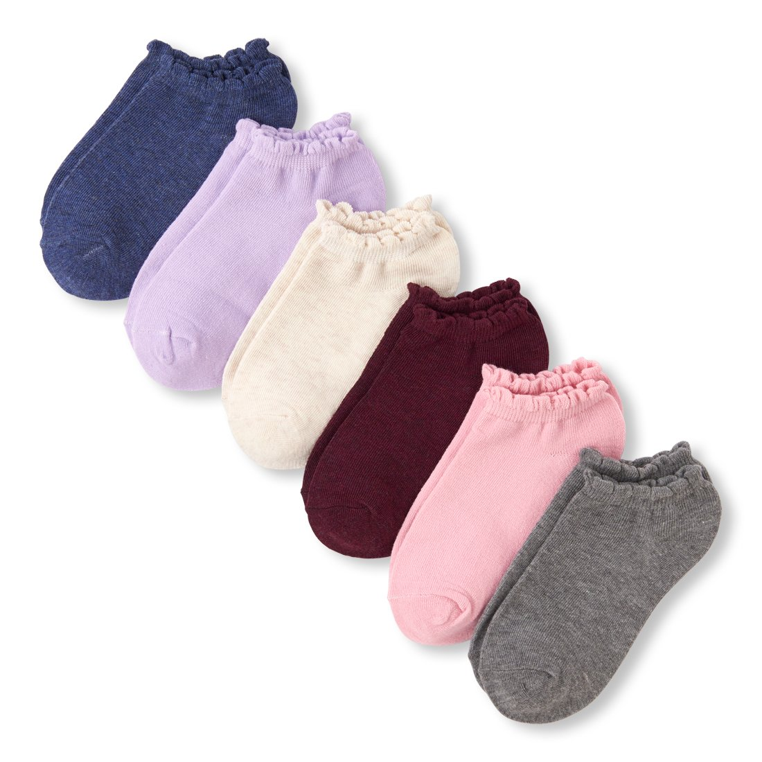 The Children's Place Girls' Big 6 Pack Scalloped Ankle Sock, Multi CLR, L 3-6