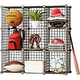 SEVVY - Multi Use DIY 9 Cube Metallic Wire Storage Organiser, Book Shelf, Storage Cabinet, Kitchen Organiser - Black Mesh - 3 x 3