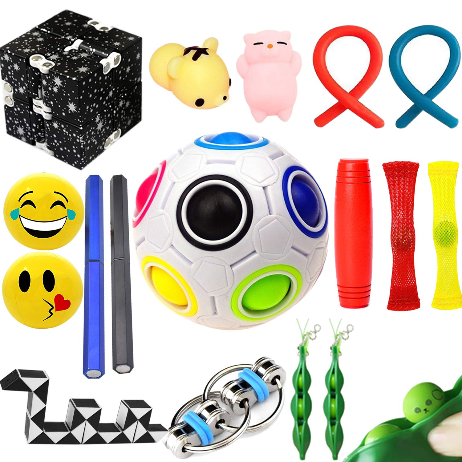 The Ultimate Sensory Fidget Toys Kit for Kids 20 Packs Fidget Cube/Infinity Cube/Squishy Ball/Squeeze Bean/Fidget Pen/Rainbow Magic Balls/Twisted Toy for ADD ADHD Stress Relax Prime by Sumine (Image #1)