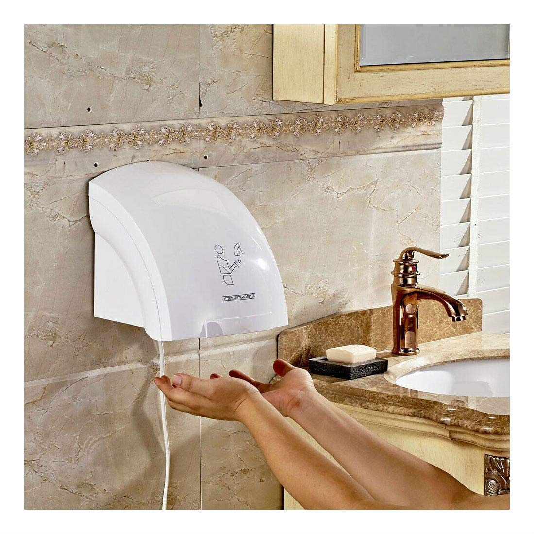 Air Hand Dryer Electric Automatic Infared Sensor Commercial Bathroom Hotel1800W by Unknown