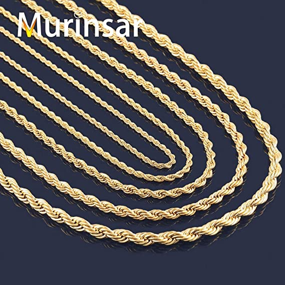 3f98f817685f3 Amazon.com: Gold Filled Stainless Steel Necklace | Rope Chain ...