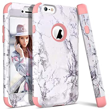 online store bb9df 8bb53 iPhone 6S Case, WE LOVE CASE iPhone 6 Case Shockproof 360 Full Protection  Marble iPhone 6S Case Protective Hard Back Silicone Bumper Cover Heavy Duty  ...