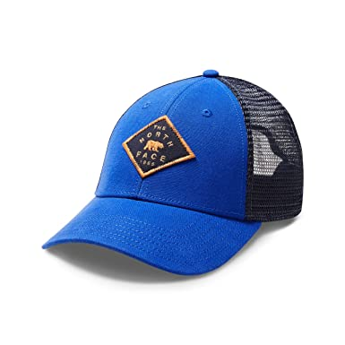 37ddc343b2366 The North Face Patches Trucker Hat - Brit Blue   Urban Navy - One Size at  Amazon Men s Clothing store