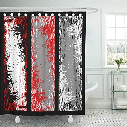 Emvency Shower Curtain Abstract Different Grey Red Black And White Grunge Aged Curtains Sets With