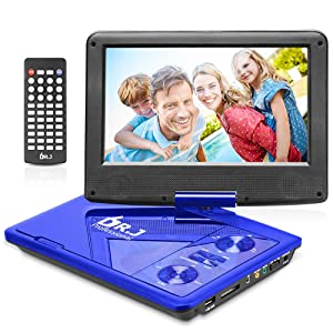 "DR. J Professional 11.5"" Portable DVD Player with 5 Hours Built-in Rechargeable Battery, USB Port, SD Card Slot, 9.5 Inch Internal Swivle Screen, Region-free, 1.8m Car Adapter and Battery Adapter Blue"
